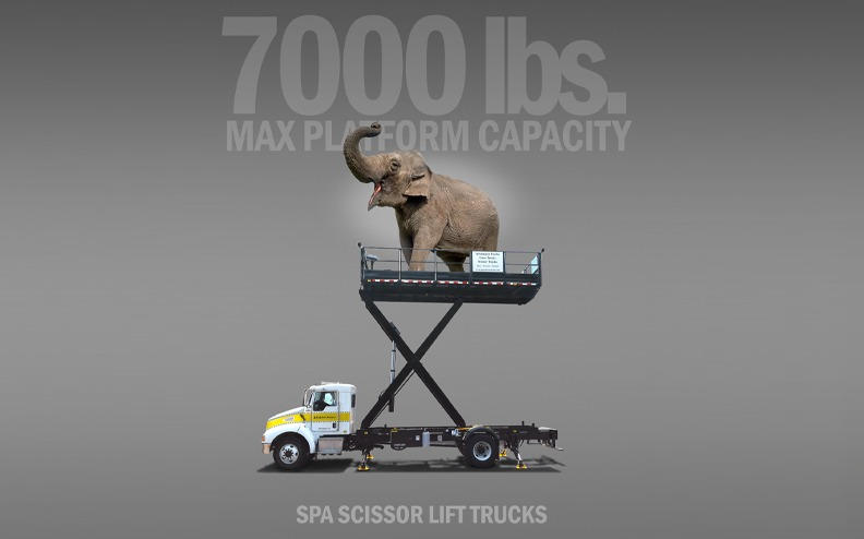 SPA Scissor Lift Trucks built with 7000 Pounds Max Platform Capacity up to heights of 20 Foot Lift