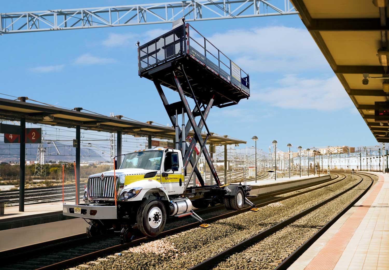 Railroad Trucks with Scissor Lift Platform and Rail Gear